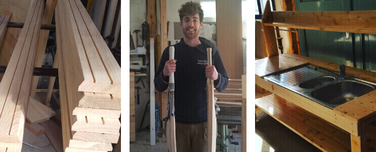 Jack with his handmade cricket bats together with architrave and the mud kitchen he helped to build